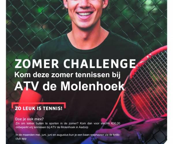 Tennisvereniging ATV de Molenhoek biedt ook deze zomer de Zomer Challenge aan voor alle sportievelingen