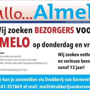 Wij zoeken bezorgers voor Hallo Almelo op donderdag en vrijdag!