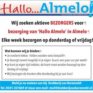 Wij zoeken bezorgers voor Hallo Almelo